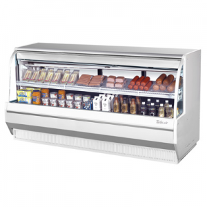 "Turbo Air TCDD-96L-R(W)-N 96-1/2"" Low-Profile Curved Glass Refrigerated Deli Display Case, White - 19.2 Cu. Ft."