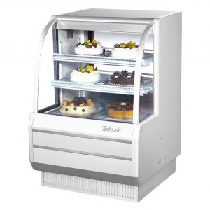 "Turbo Air TCGB-36-W(B)-N 36-1/2"" Curved Glass Refrigerated Bakery Display Case, White - 10.9 Cu. Ft."