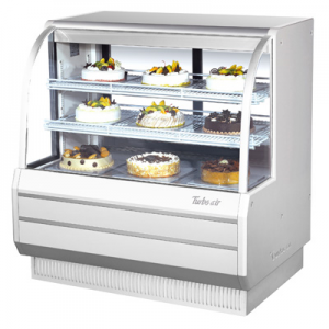 "Turbo Air TCGB-48-W(B)-N 48-1/2"" Curved Glass Refrigerated Bakery Display Case, White - 16.5 Cu. Ft."