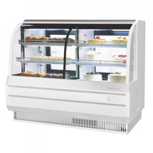 "Turbo Air TCGB-60CO-W(B)-N 60-1/2"" Curved Glass Dual Dry/Refrigerated Bakery Display Case, White - 18.4 Cu. Ft."
