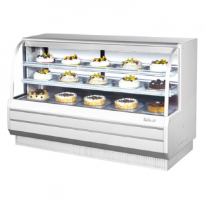 "Turbo Air TCGB-72-W(B)-N 72-1/2"" Curved Glass Refrigerated Bakery Display Case, White - 22.7 Cu. Ft."