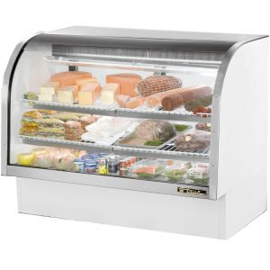 "True TCGG-60-LD White 60"" Curved Glass Refrigerated Deli Case - 30 Cu. Ft."