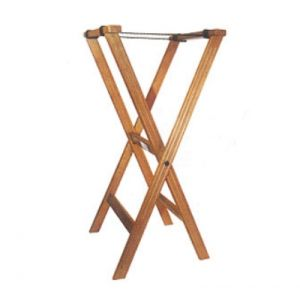 "Winco TR-33W 32"" Folding Tray Stand, Walnut"