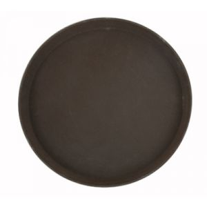 "Winco TRH-14 14"" Easy Hold Round Tray - Brown"