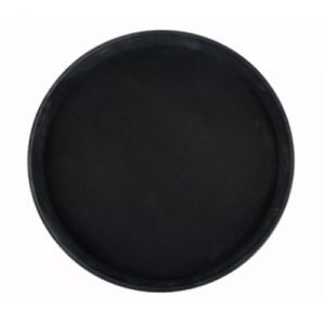 "Winco TRH-14K 14"" Easy Hold Round Tray - Black"